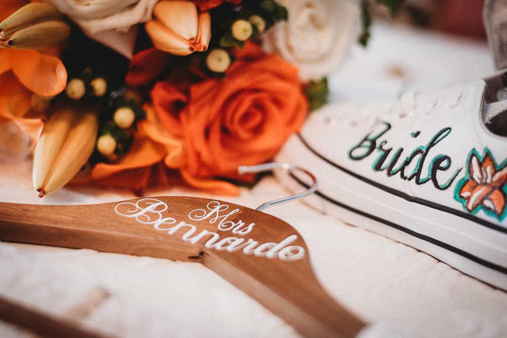 Bride's wedding day details