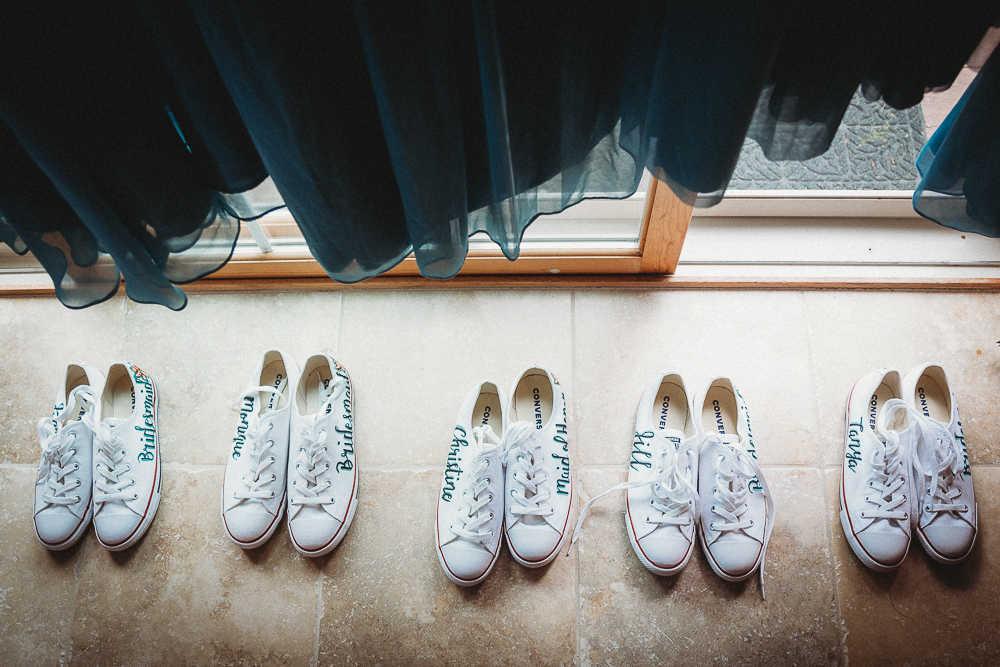 Bridesmaids' custom-painted wedding day sneakers