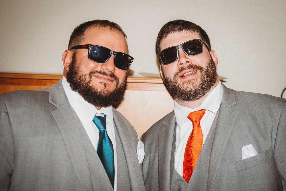 Groomsmen sunglasses on a wedding day