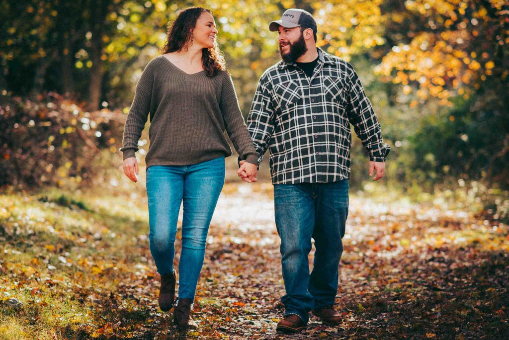 Engaged couple at Groton's Haley Farm State Park engagement session
