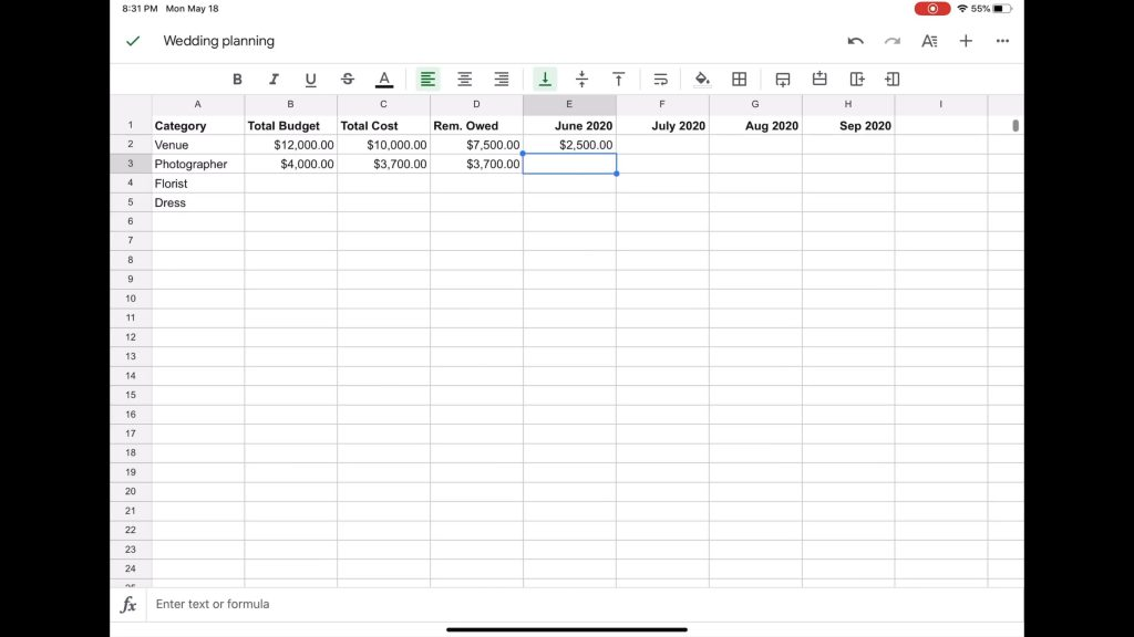Google Sheets is a spreadsheet app, like Excel. VERY useful for wedding planning is its ability to help you keep a budget.