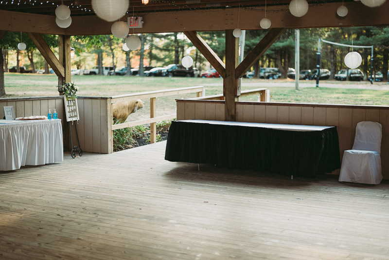 The dance area of budget Connecticut wedding venue Boulder Ridge Day Camp.