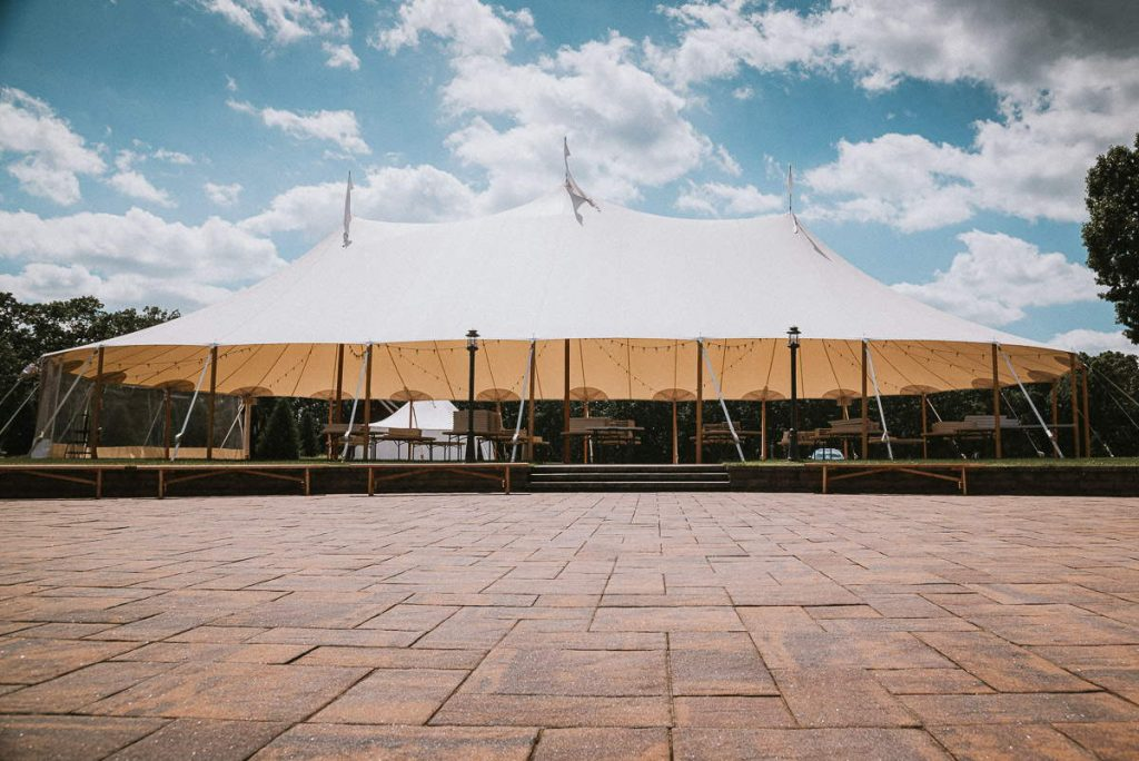 The tent and patio of Connecticut wedding venue The Overlook at Geer Tree Farm.