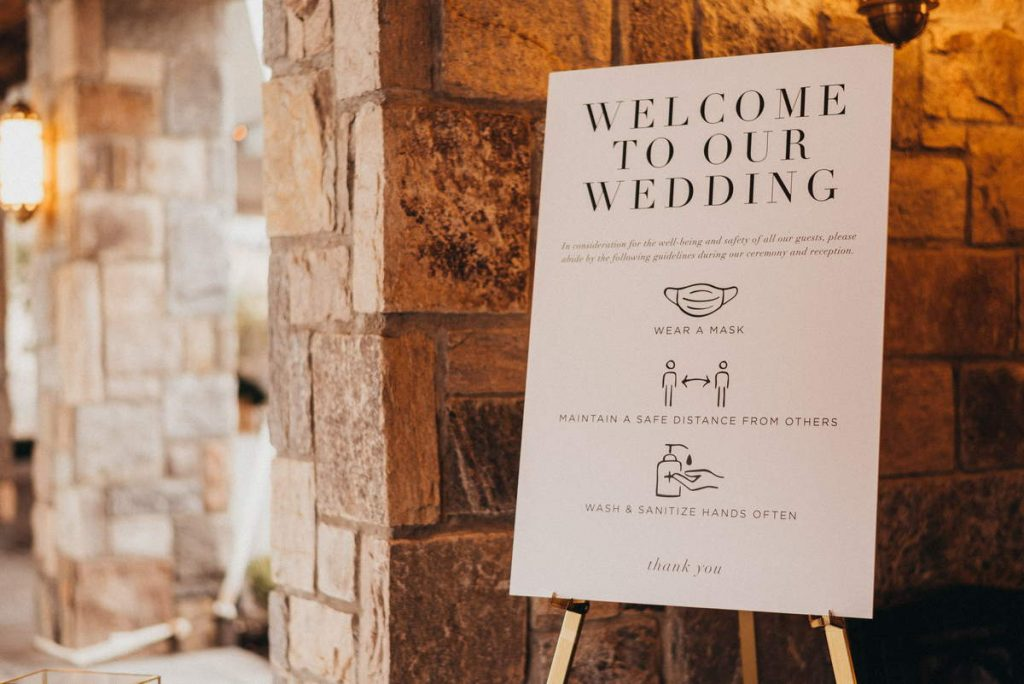 A welcome sign on a stand at a New Jersey wedding venue during the Covid-19 pandemic.