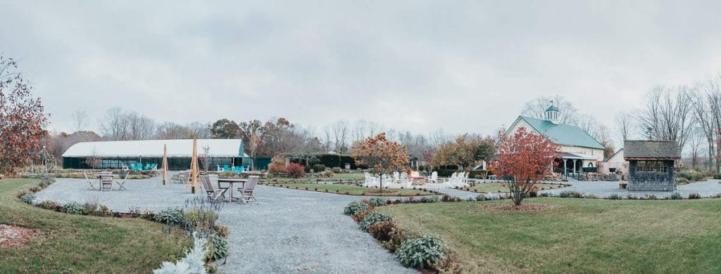 A panoramic view of what a Salem Herbfarm wedding has to offer Connecticut couples.