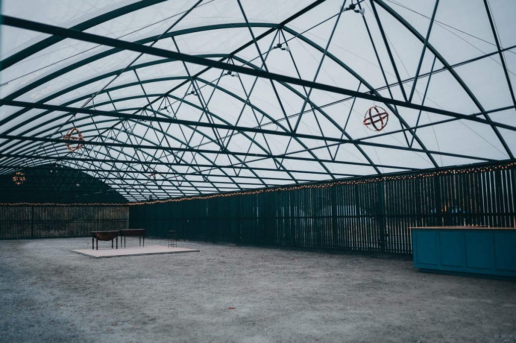 This greenhouse is the main outdoor reception area of a Salem Herbfarm wedding.