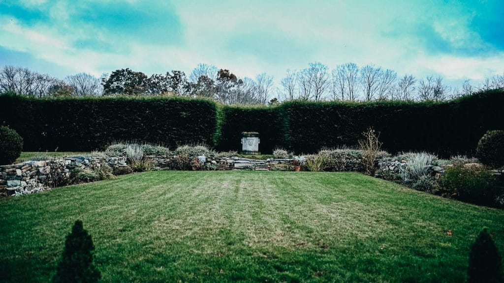 This grassy courtyard area is the second of two ceremony locations available for a Salem Herbfarm wedding.