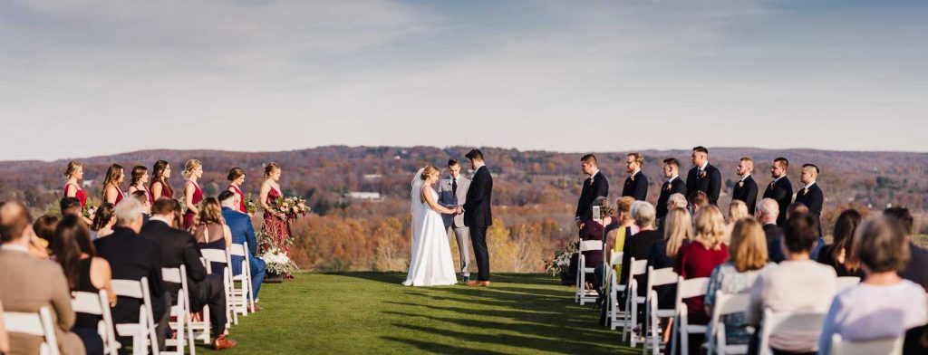 Lyman Orchards wedding ceremony by Connecticut wedding photographer Terrence Irving.